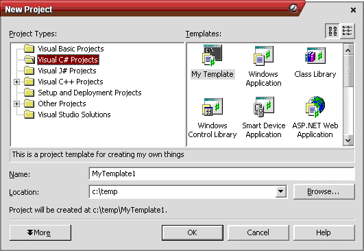 Creating your own Visual Studio Project Template